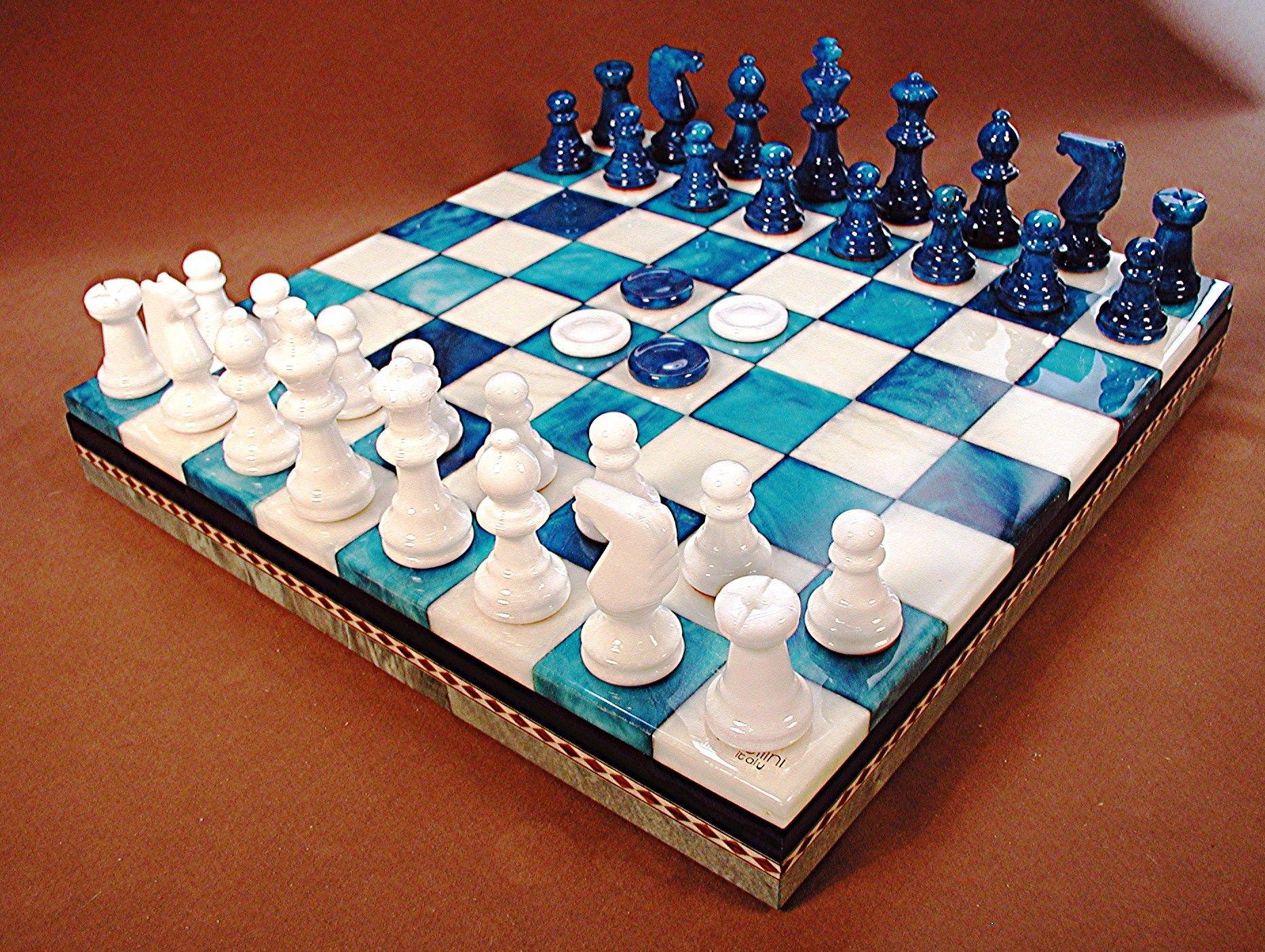 13 5 Chiellini Alabaster Blue White Chess Checker Set
