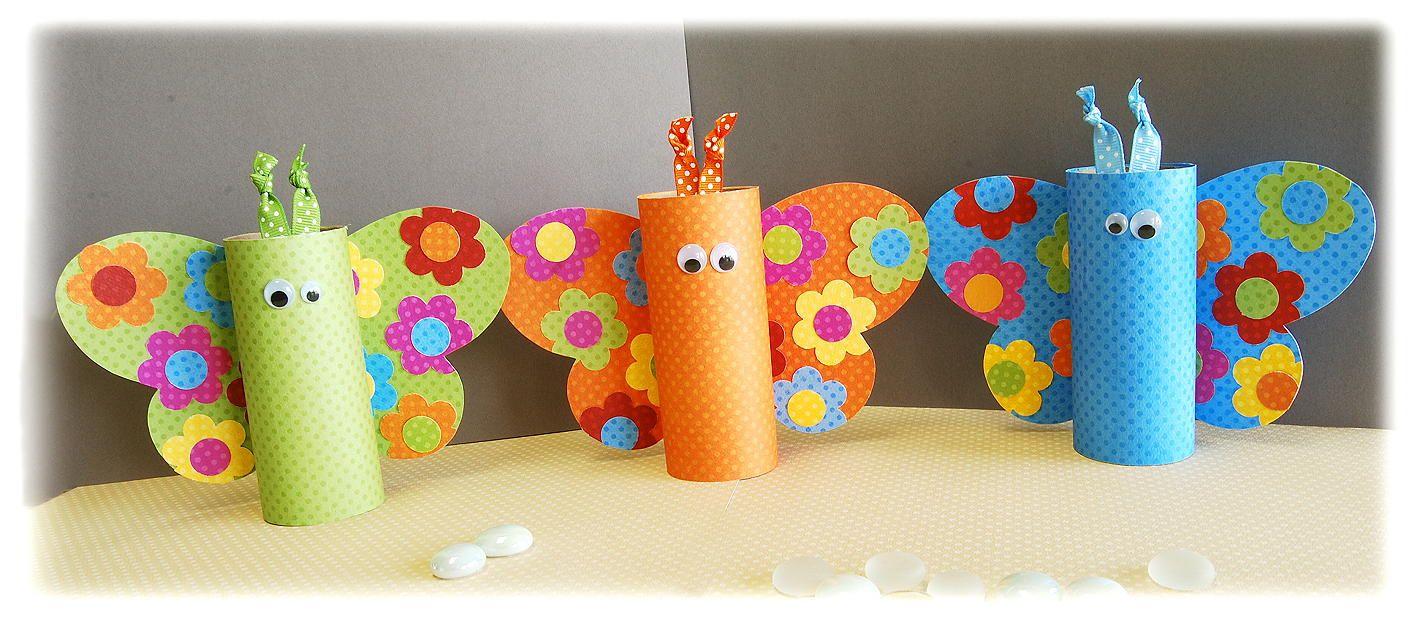 Mariposas de rollo de papel higi nico reciclado juguetes - Materiales para trabajos manuales ...