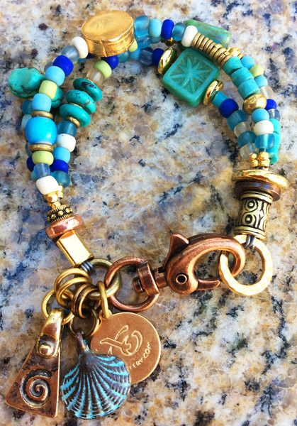 Gorgeous Turquoise, Blue Glass, Gold and Copper Seahorse Charm Bracele | XO Gallery