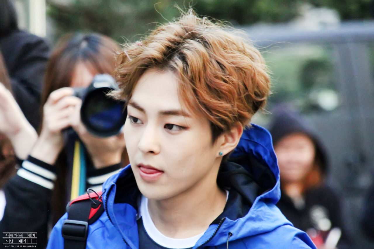 Xiumin - 150424 KBS Music Bank, midway commute Credit: 아네모내. (KBS 뮤직뱅크 중간외출)