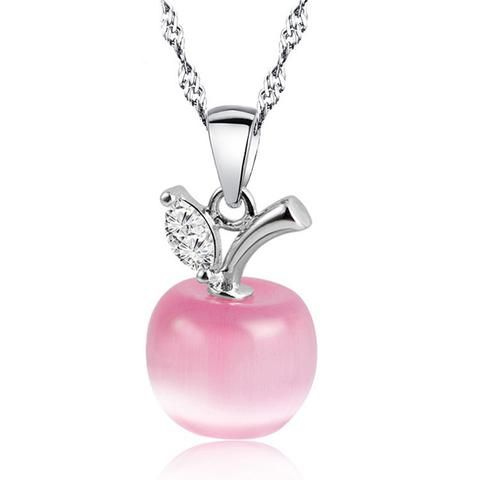 Photo of Crystal Apple Pendant Necklace – Silver Plated Jewelry