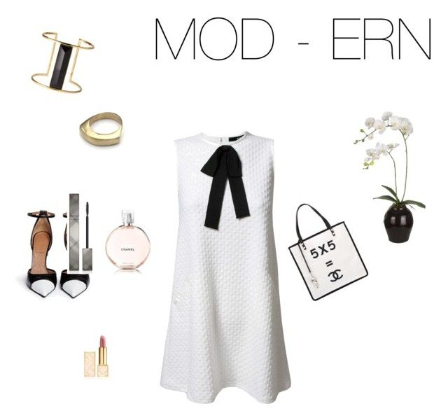 """""""MOD - ERN"""" by elizabeth-chamblin-pressel ❤ liked on Polyvore featuring TFNC, Givenchy, Chanel, Rachel Zoe, Tory Burch, Burberry and Sia"""