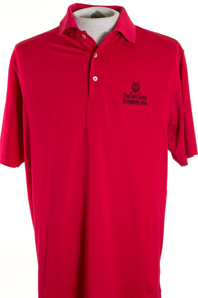 06fddfec3da Peter Millar Summer Comfort Mens M Red St Andrews Old Course Polo Golf Shirt   PeterMillar  PoloRugby