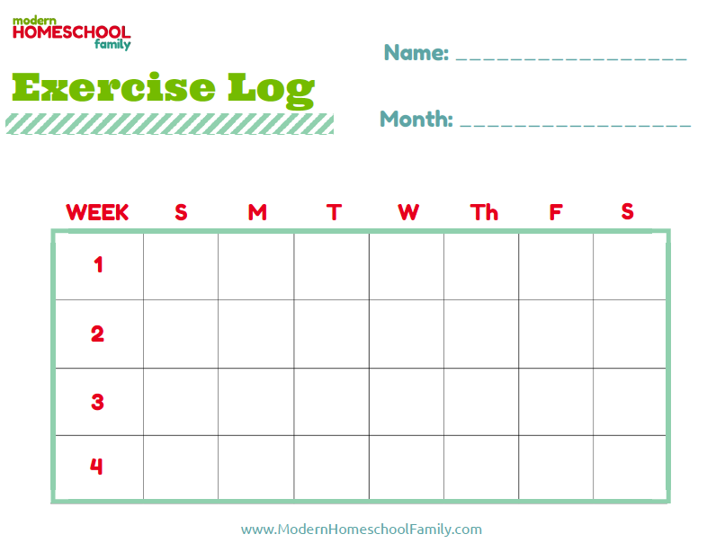 Free Printable Exercise Log for Kids | Help kids reach their ...
