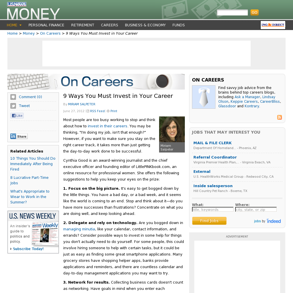 """9 Ways You Must Invest in Your Career    By MIRIAM SALPETER  June 27, 2012 RSS Feed  Print     by Miriam Salpeter    Most people are too busy working to stop and think about how to invest in their careers. You may be thinking, """"I'm doing my job, isn't that enough?"""" However, if you want to make sure you stay on the right career track, it takes more than just getting the day-to-day work done to be successful."""
