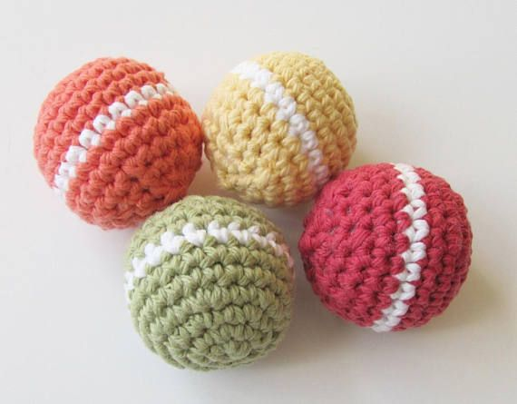 Crocheted Dog Toy Balls No Squeaker Dog Toy Non Toxic Fiberfill