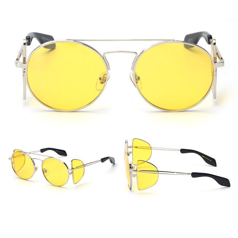 Gafas De Sol Yellow Lens Silver Metal Frame Steampunk Outdoor Women ...
