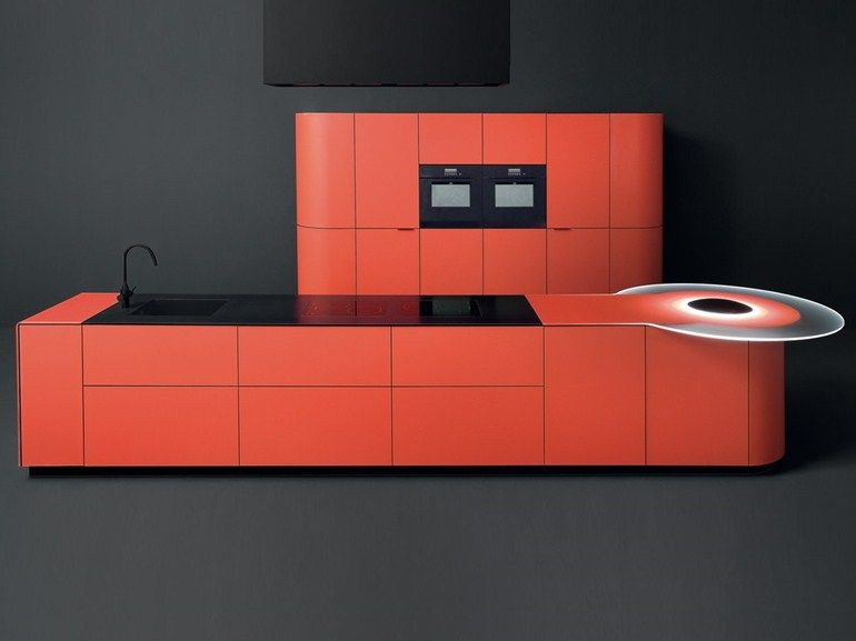 Mobili Argento ~ Lacquered tempered glass kitchen with island argento vivo by gd