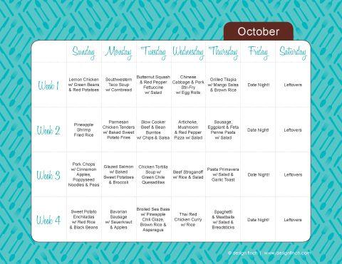 Free, printable, type-able monthly menu planner {Free Printables