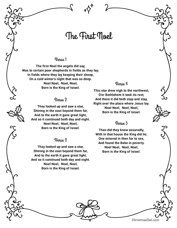 Free printable lyrics for The First Noel. Download them at