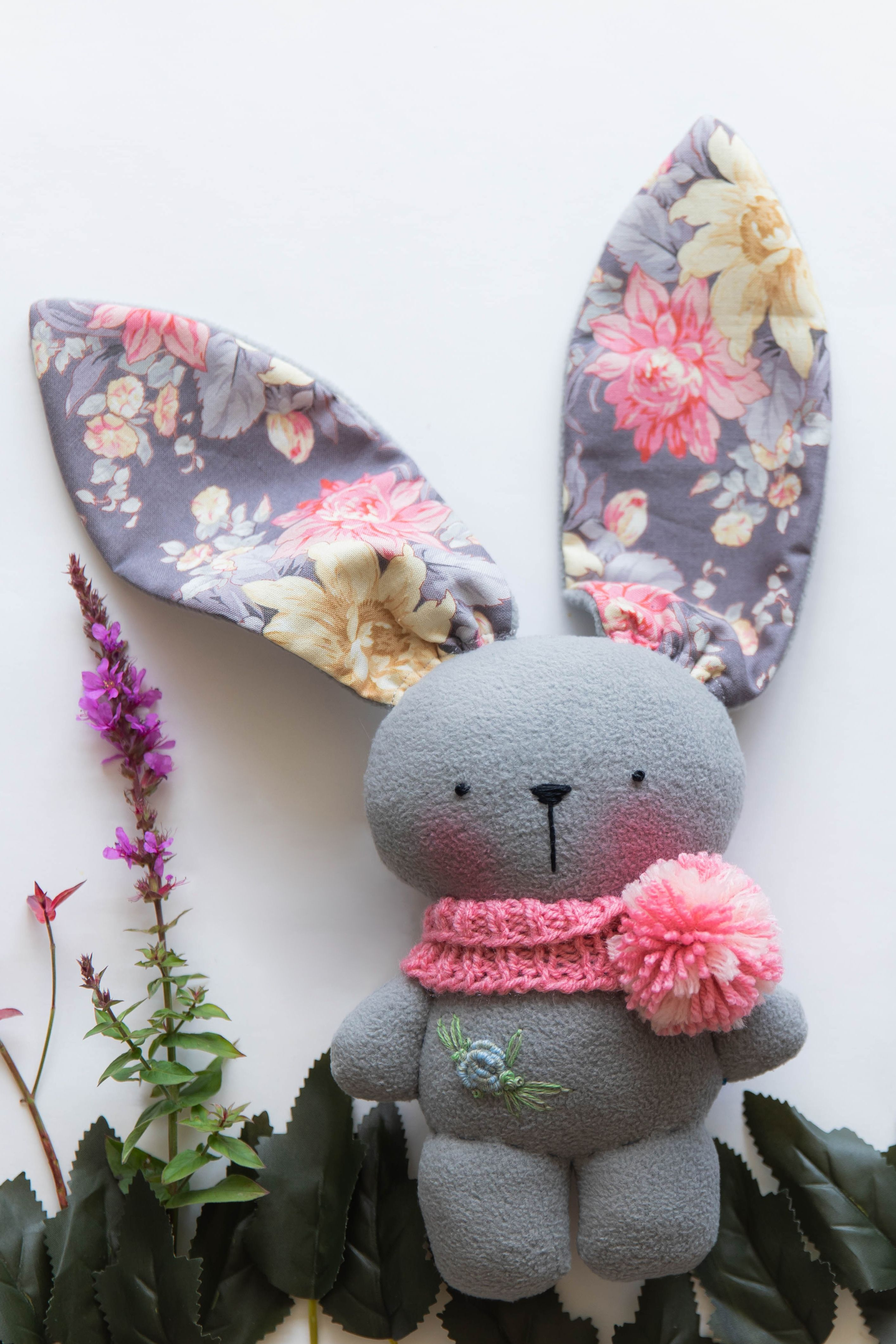 Plush gray bunny toy Plush light gray bunny toy with blushed cheeks and  floral print ears. His body is ma… in 2020 | Bunny toys, Handmade stuffed  animals