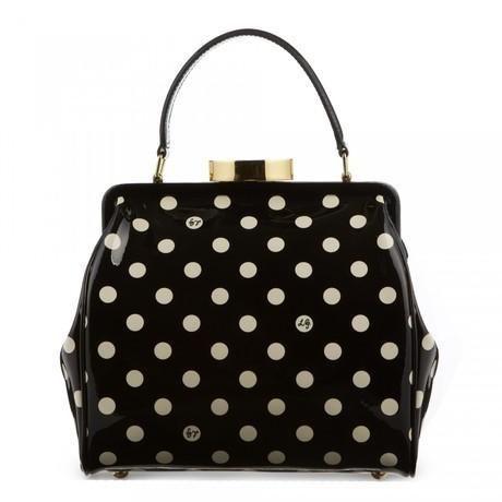 Lulu Guinness Polkadot Eva Bag Black Patent Handbag Vtg 40s Style Dust Small Ebay