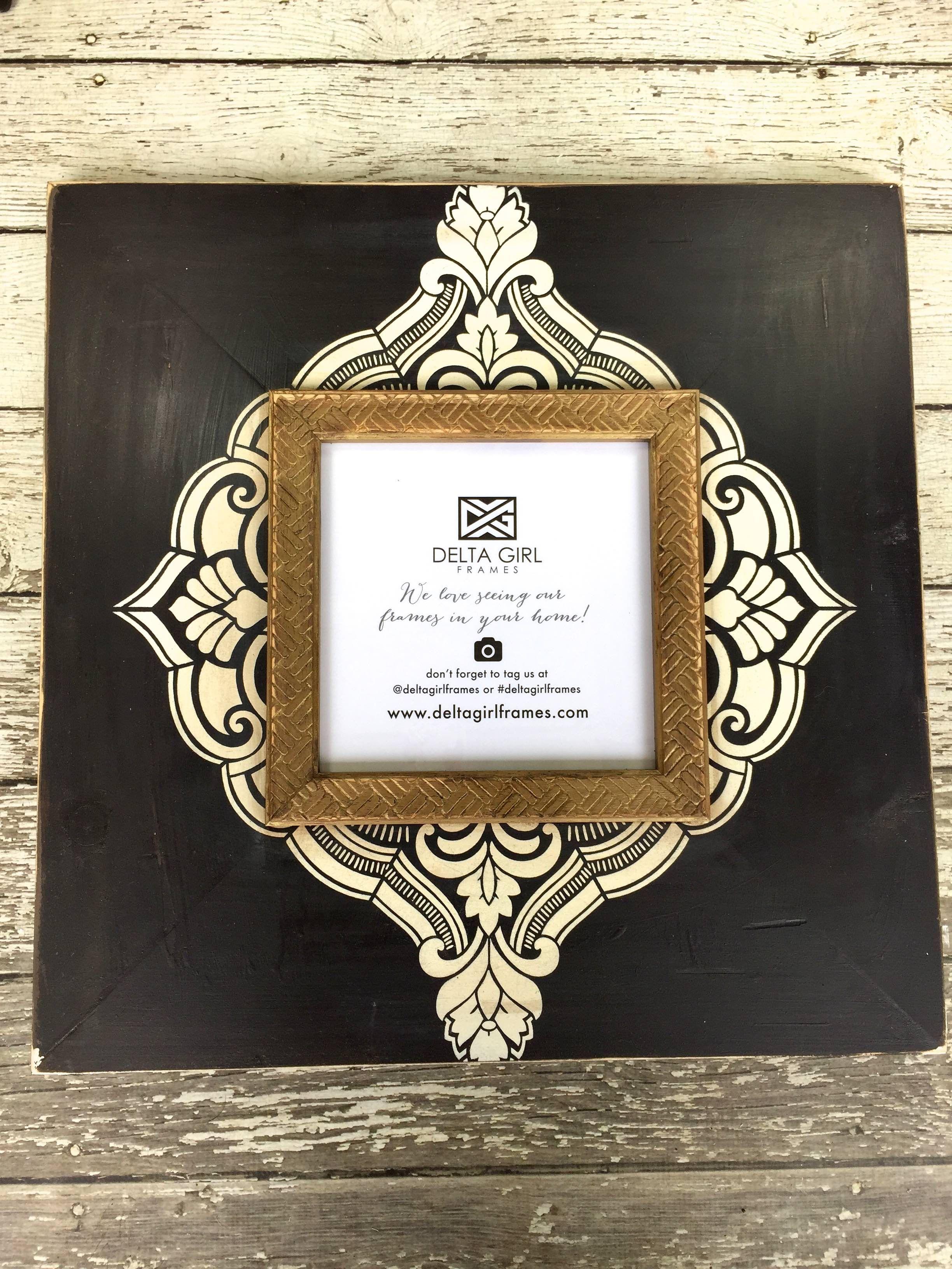 NEW 8x8 Henna Frame www.deltagirlframes.com #blackandwhite #henna ...