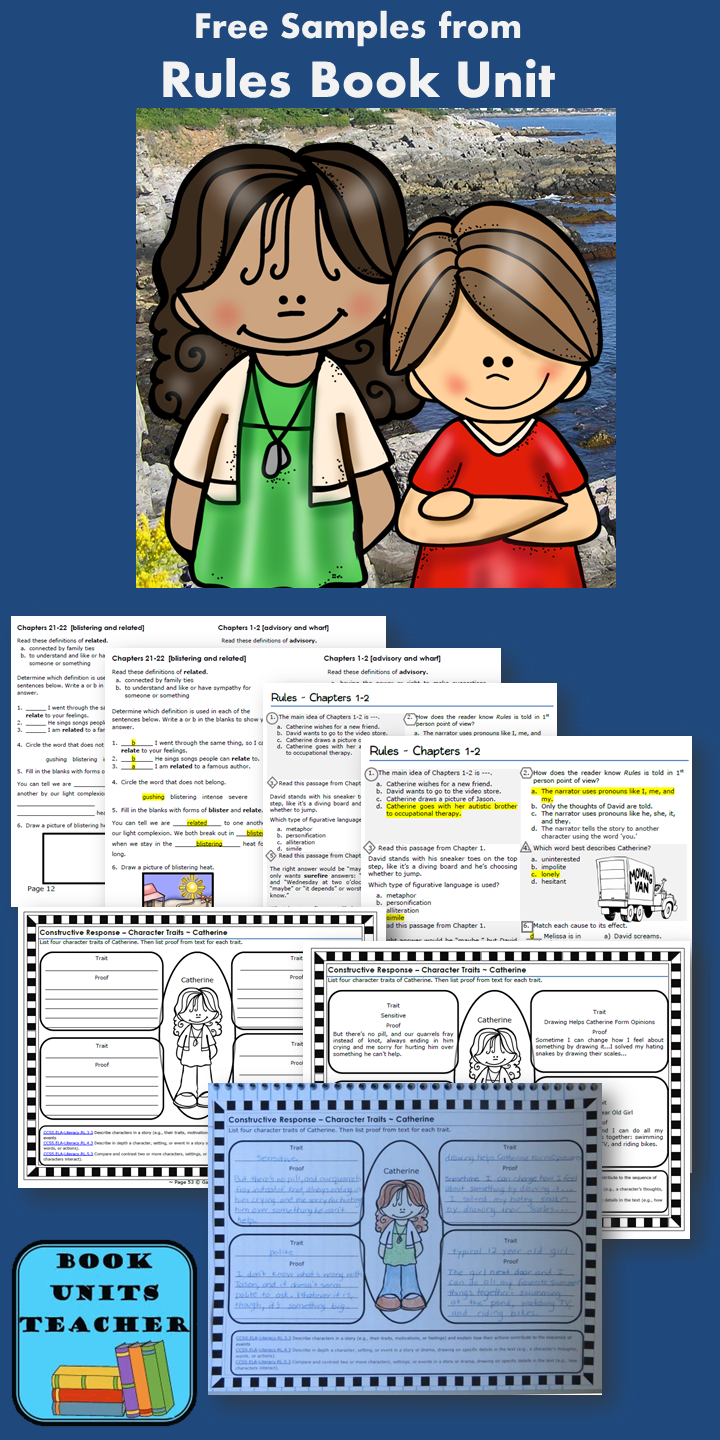 activities to use with the book rules by cynthia lord great books