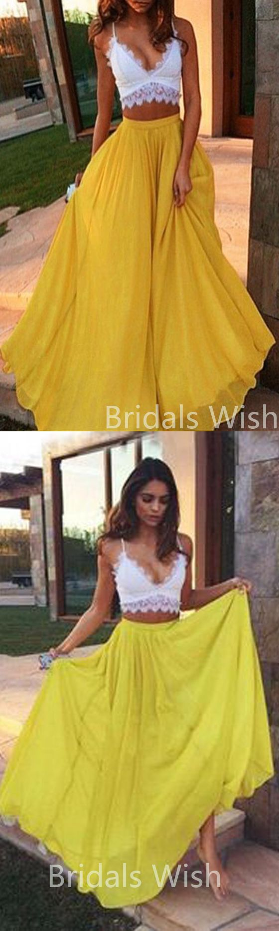 Two pieces long prom dresses whiteuyellow long prom dressesvneck