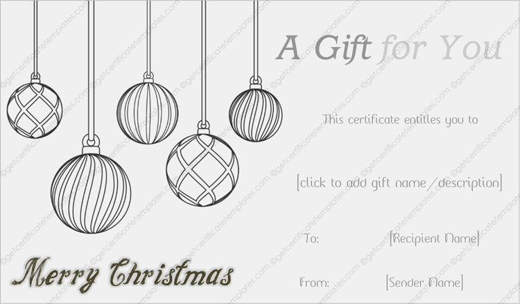 Black And White Christmas Gift Template Christmas Gift Template Christmas Gift Certificate Template Customised Christmas Gifts