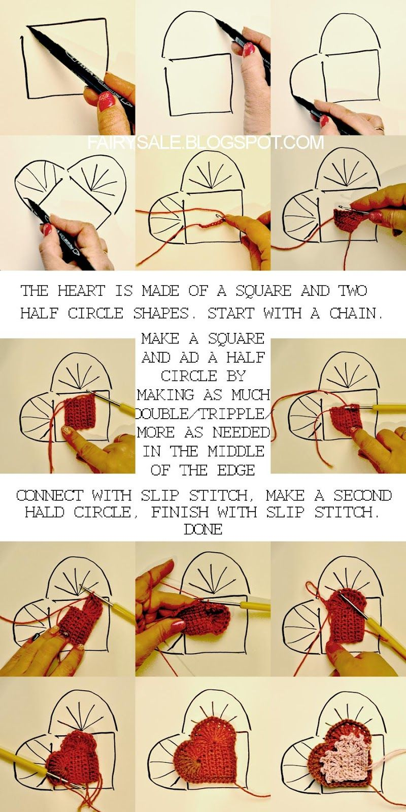 fairysale-stamps: Tutorial for crochet a heart shape without counting stitches