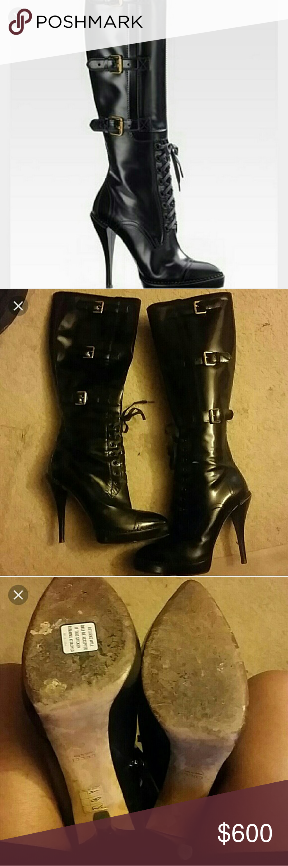Gucci black bondage badazz boots Preowned...this is the badest boot Gucci has ever made!!! Several of my model bf's own this boot...all real leather..platform. ..size 40 European so know your Gucci size b4 buying...words can't explain the badassness of this boot!!! Fits best 9.5 but know ur size Gucci Shoes Heeled Boots