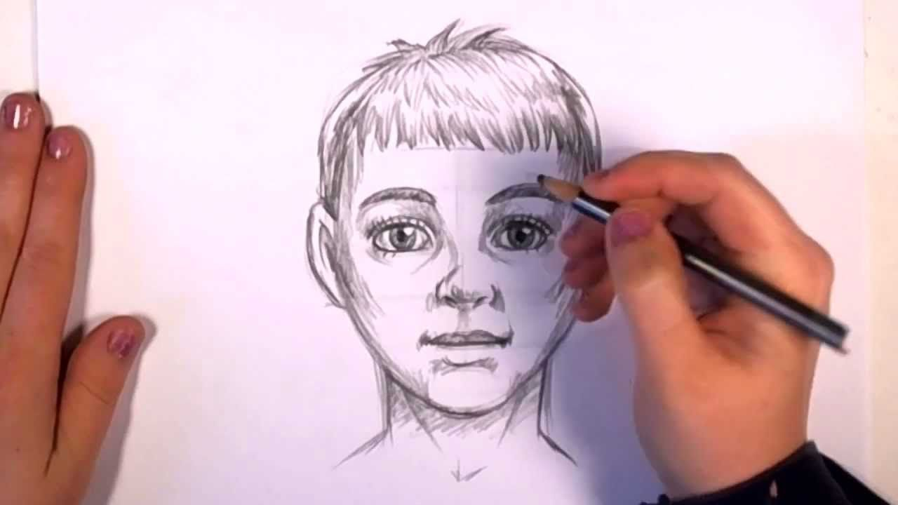 How to draw a boy draw a face in pencil cc