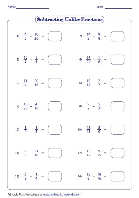 Https Www Mathworksheets4kids Com Fractions Subtraction Unlike All Large Png Adding Fractions Subtracting Fractions Adding Improper Fractions