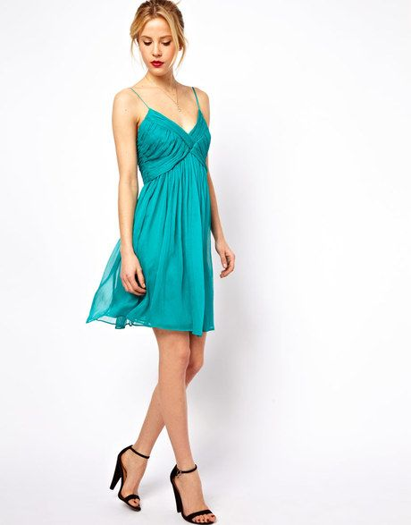 Mango Chiffon Ruch Prom Dress in Green - Lyst | Fashion: crepe and ...