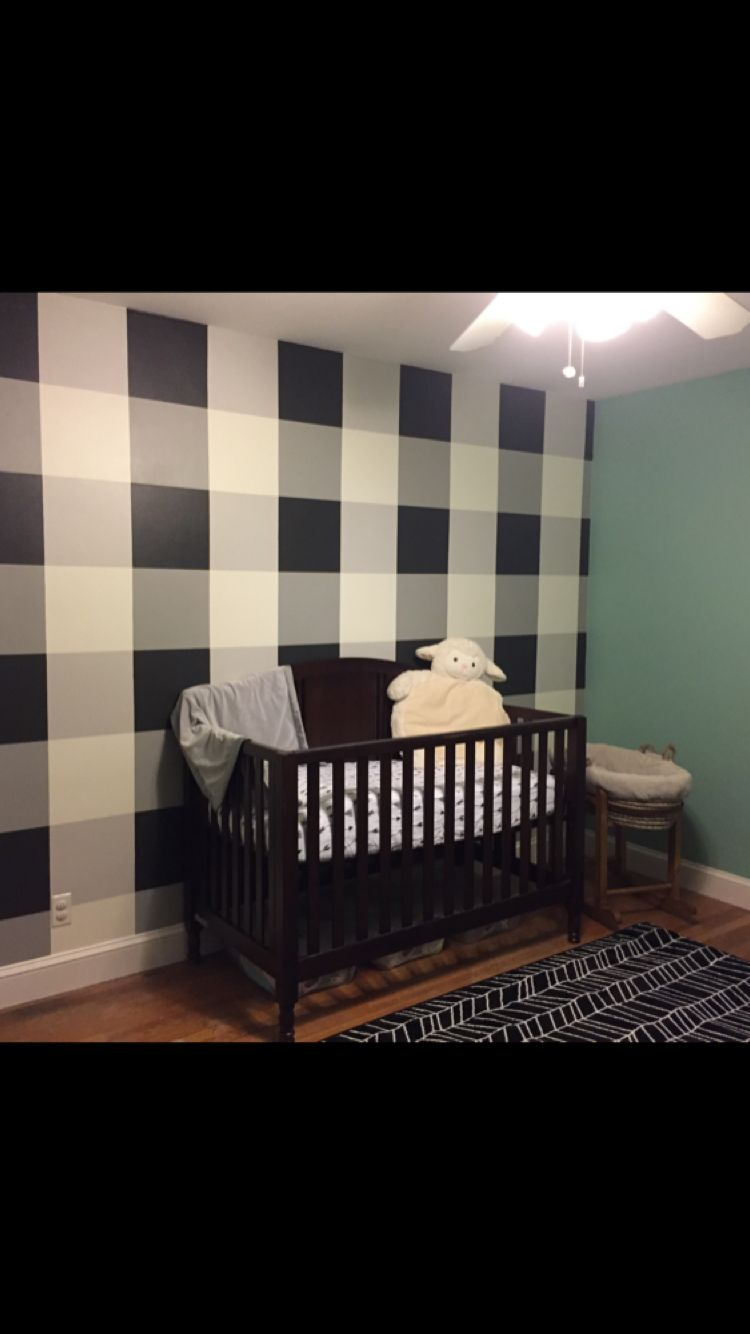 Plaid accent wall in my son\'s nursery. Sherwin Williams paint ...