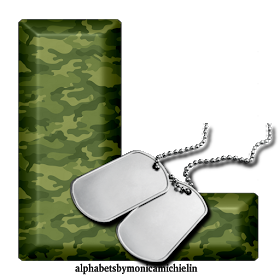 Alphabets By Monica Michielin Soldier Camouflage Dog Tag Alphabet Alfabeto Dia Do Soldado 25 De Agosto Dog Tags Alphabet Dog Tags Military