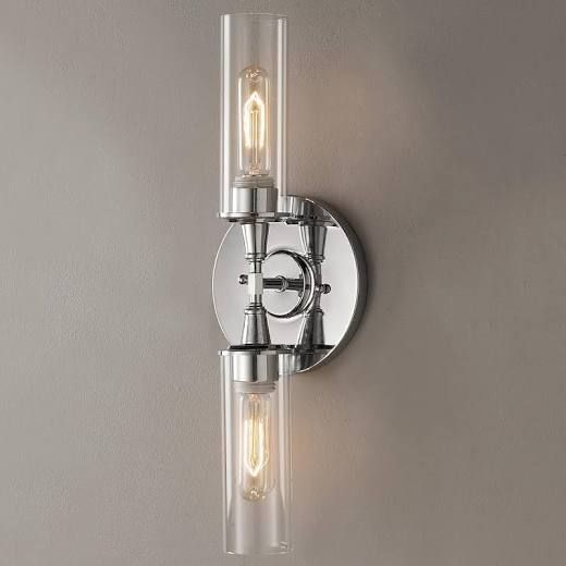 new style 832c1 06f4f Double Bullet Glass Wall Sconce Chrome | Inglewood bathroom ...