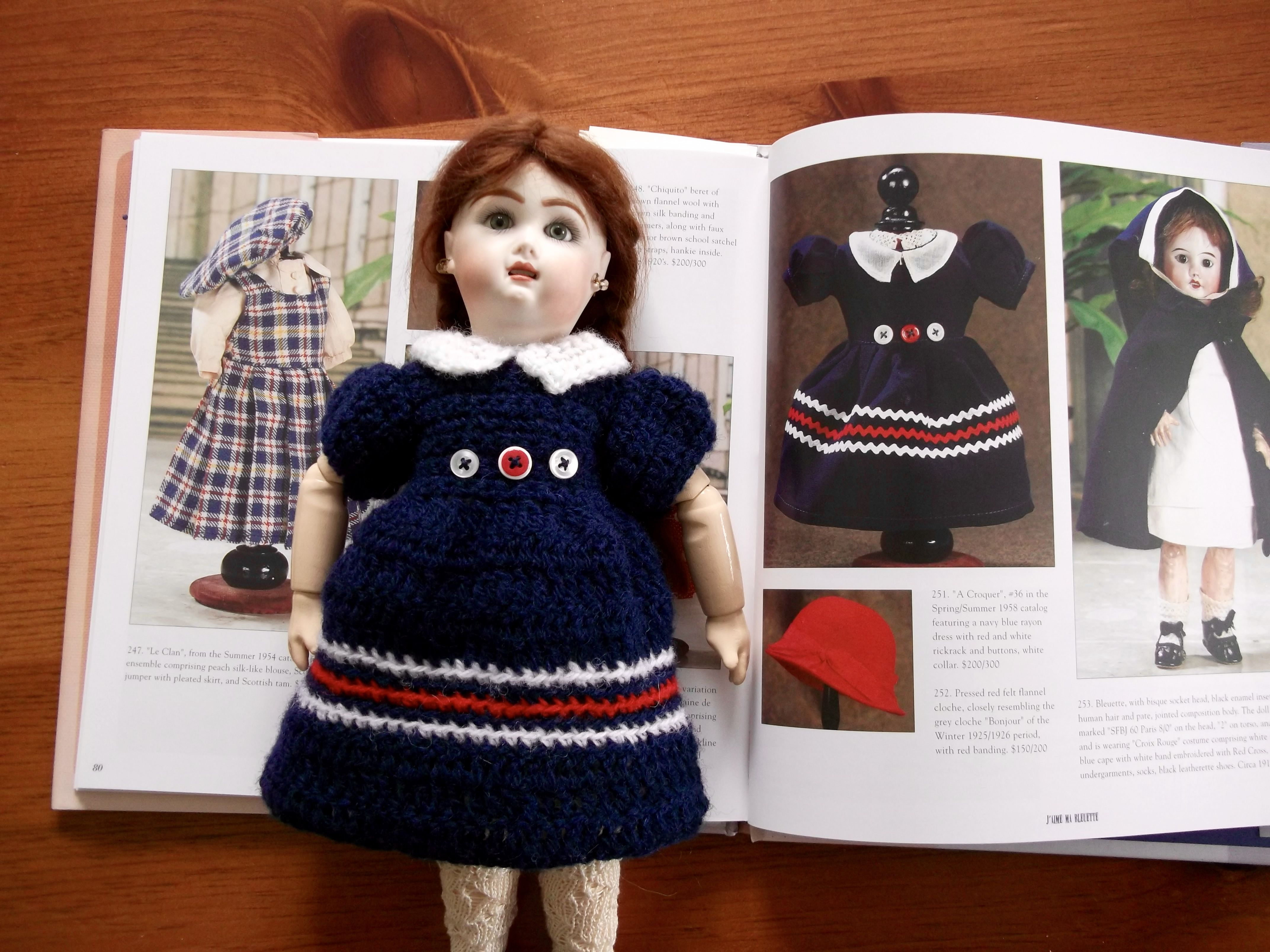 "hand-knit interpretation of ""A Croquer"" (spring/summer 1958) with vintage buttons"