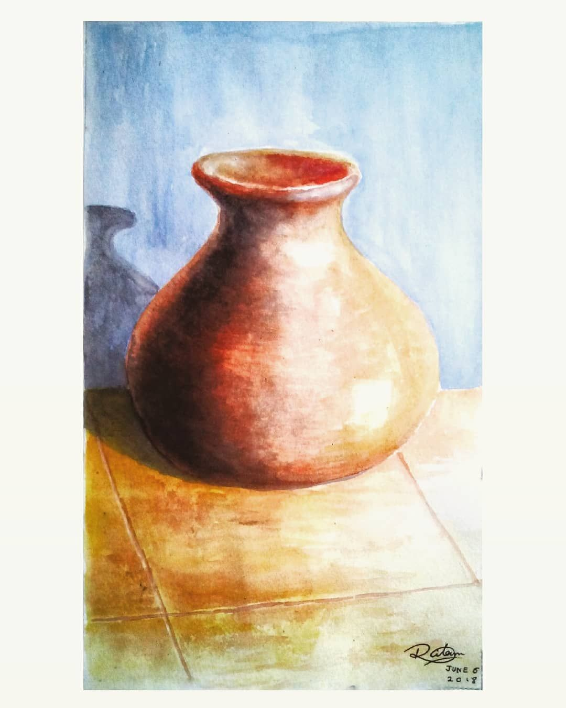 Pot Watercolor Still Life Painting Watercolor Beginner