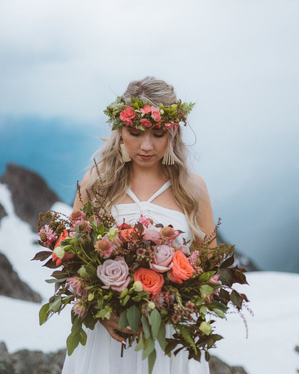 Vancouver Wedding Flowers: Engagement Bouquet With Hair Piece By Vancouver Wedding