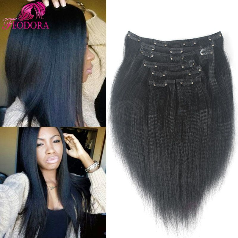 Clip In Human Hair Extensions Italian Yaki Straight African American