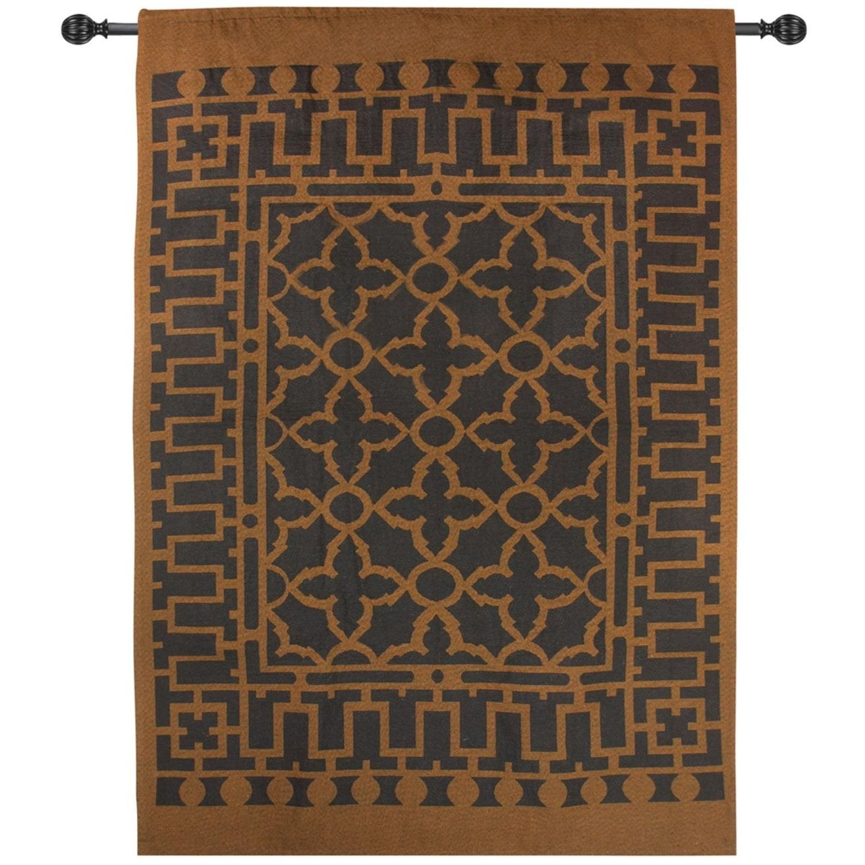 Geometric mocha brown elegant grate cotton wall art hanging tapestry 35