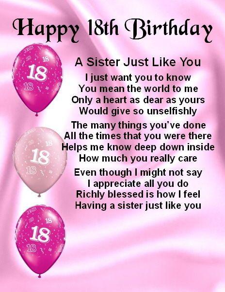 Fridge Magnet Personalised Sister Poem 18th Birthday FREE – 18th Birthday Card Verses