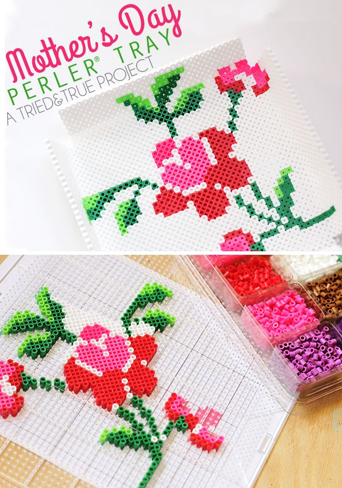 Make this fun Mother's Day Perler Bead Tray to celebrate that special mother in your life! Includes free printable template.