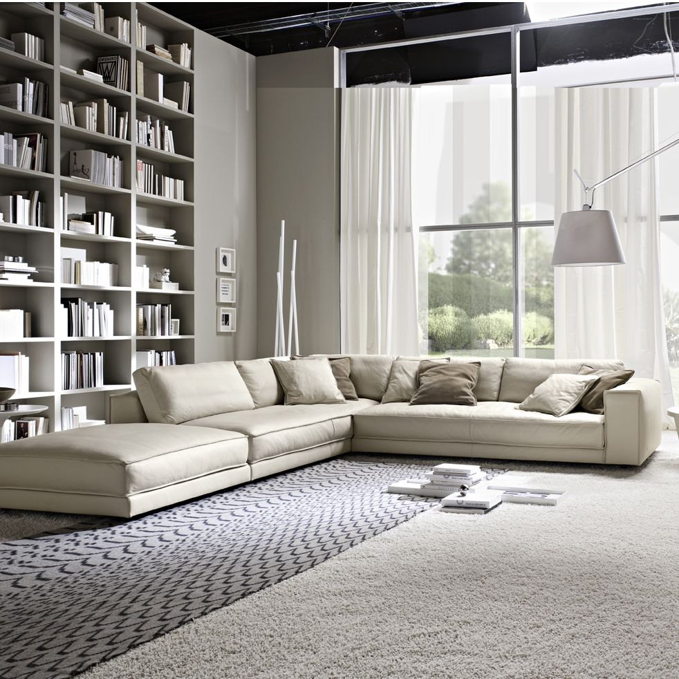 Italian Contemporary Sofas Minerale Corner Sofa With Footstool Sofa In 2019 Leather