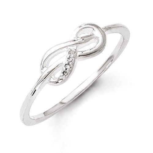 Sterling Silver White Ice Infinity Knot Diamond Ring Infinity