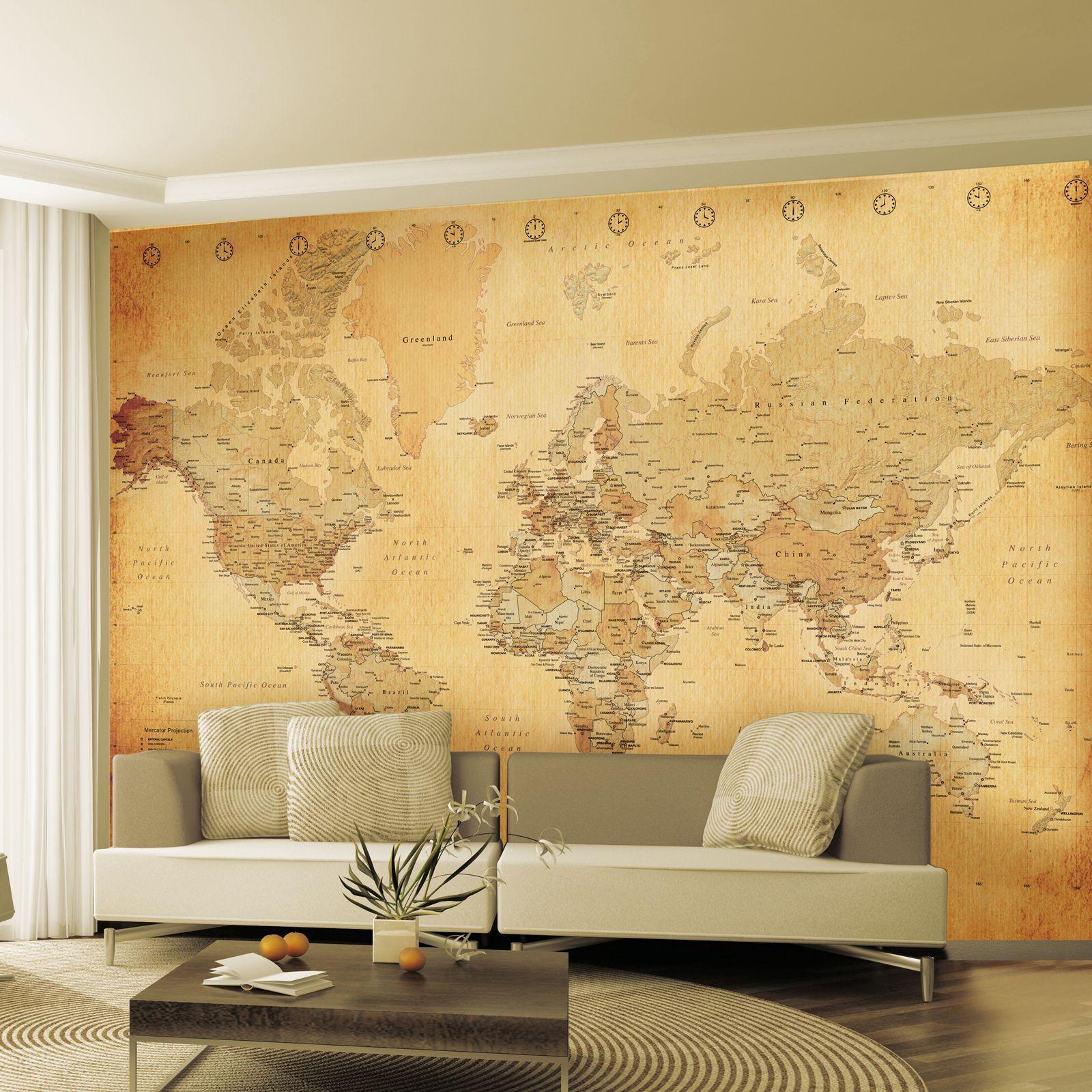 Обои география на стену в интерьере фото