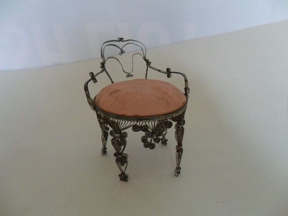 vintage dollhouse chair  vintage pin cushion  vintage by GTDesigns, $9.00