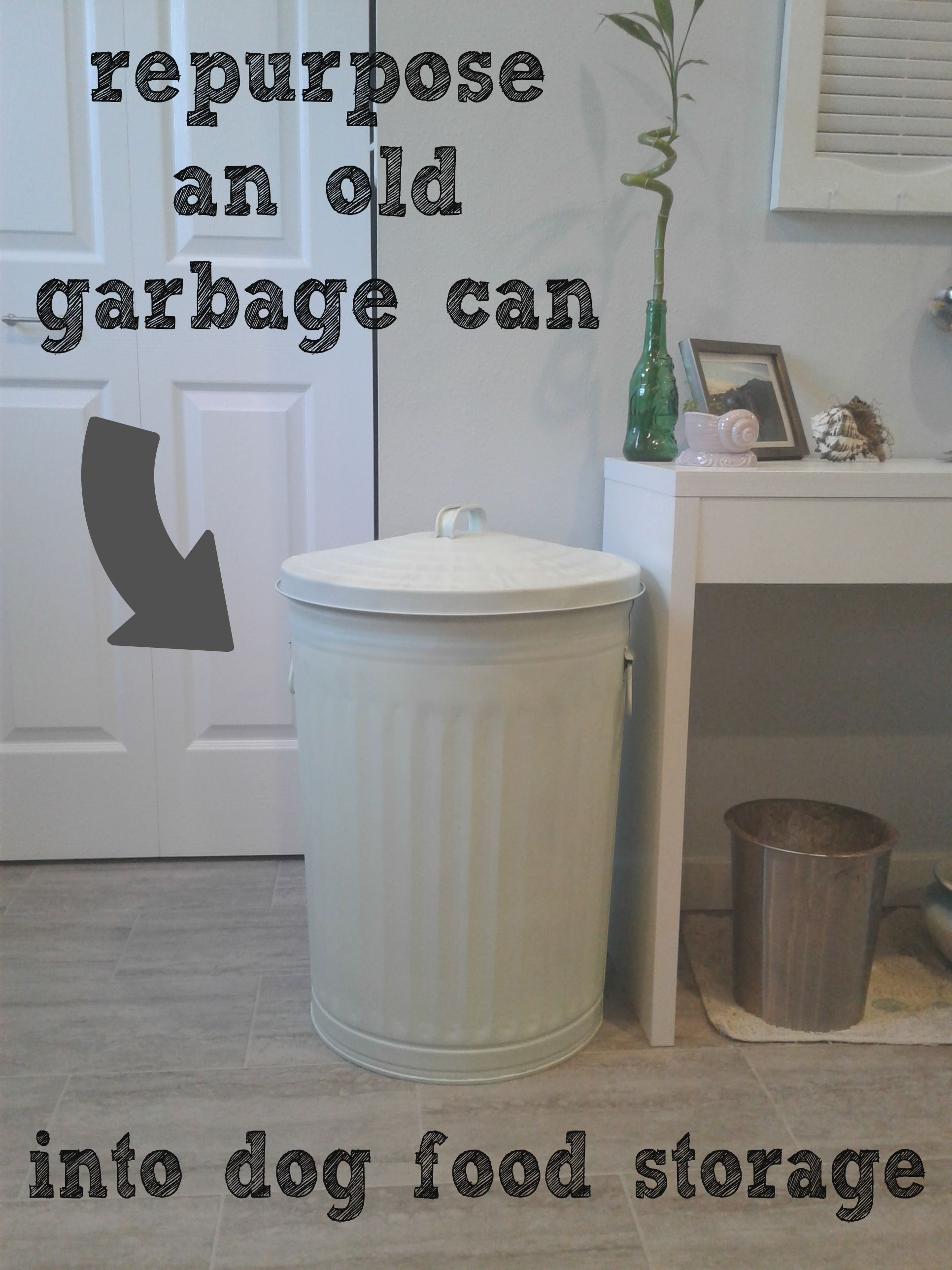 Great idea for dog food storage container  Grab an old metal