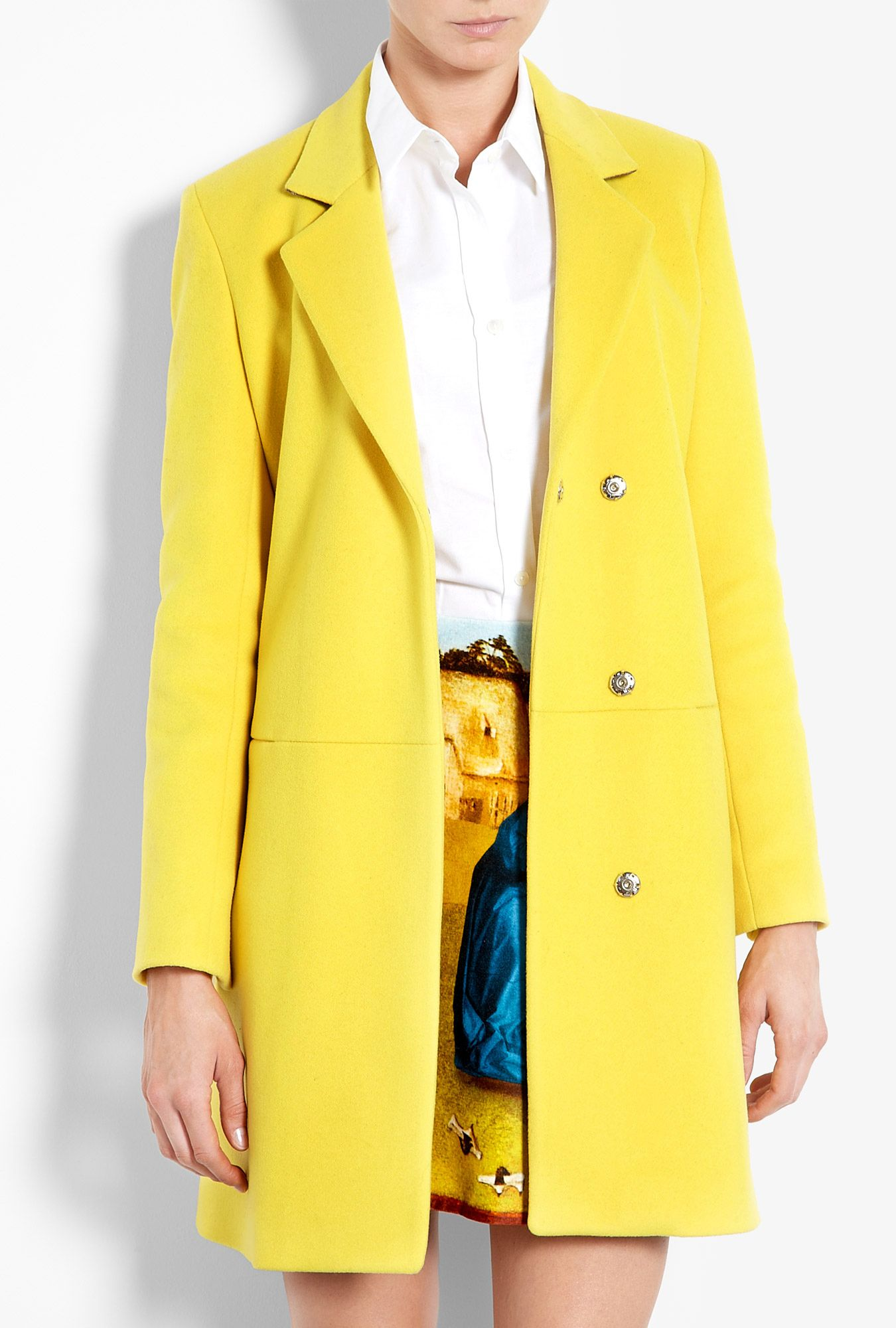MSGM   Yellow Wool Coat by MSGM   Msgm, Wool coats and Wardrobes