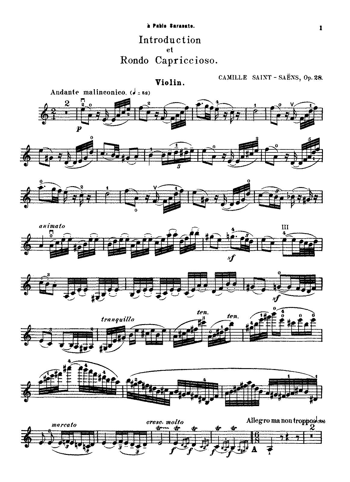 Introduction Et Rondo Capriccioso Op 28 Saint Saens