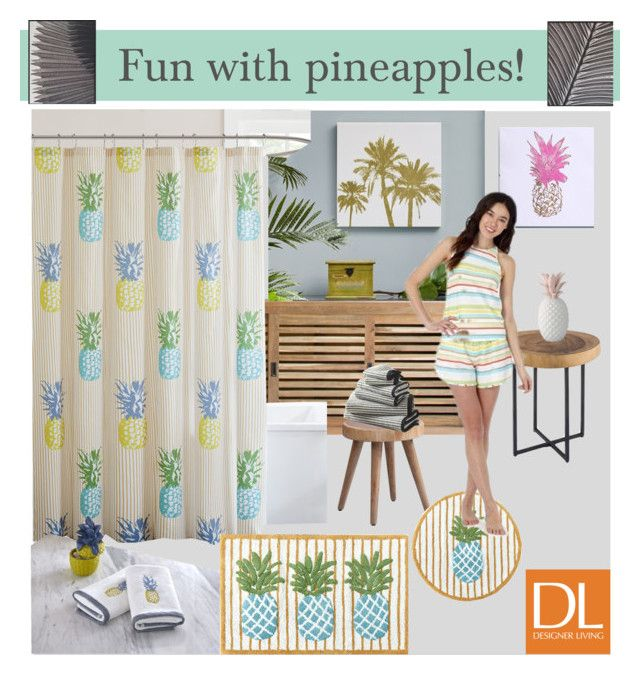 """""""Fun with PINEAPPLES!"""" by designerliving ❤ liked on Polyvore featuring interior, interiors, interior design, home, home decor, interior decorating, Ink & Ivy, Intelligent Design, Madison Park and Echo Design"""