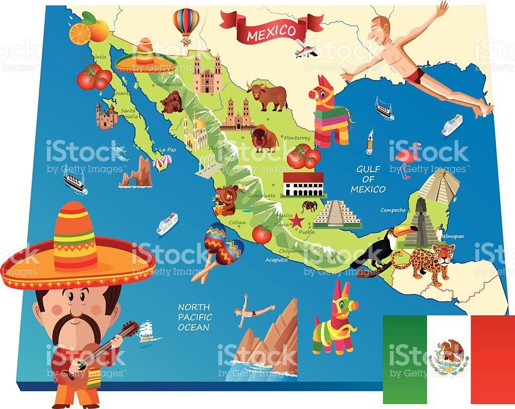 Mexico Cartoon map   Future International days   Map vector, Cartoon on
