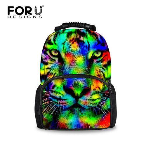 FORUDESIGNS Gray 3D Horse Tiger Animal School Bags Shoulder Book Schoolbag  For Teenager Boys Backpacks Mochila 3e8619ea0b