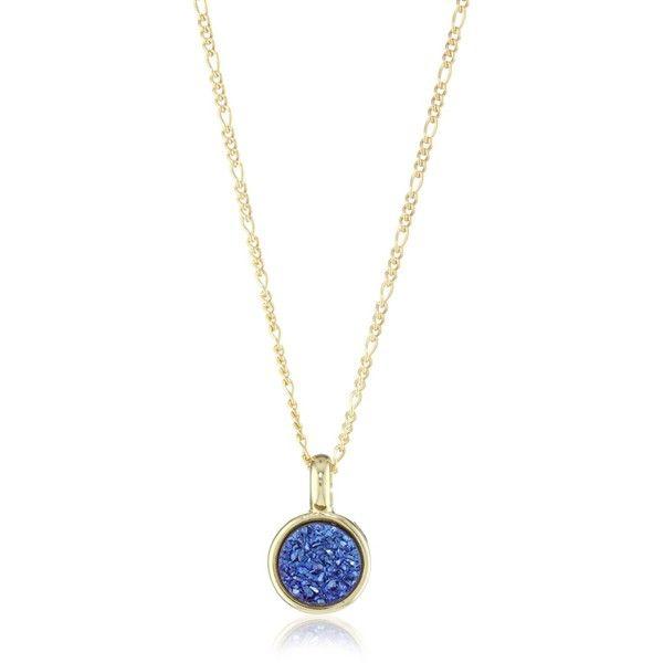 "Marcia Moran ""Midnight"" Dark Blue Druzy Small Circle Pendant Necklace"