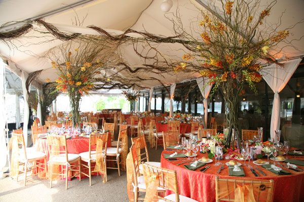Our Venue - Giando's on the Water.  I love the chiffon bow accents on the bamboo chairs.