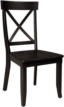 Home Styles Set of 2 Dining Room Chair - Black Finish
