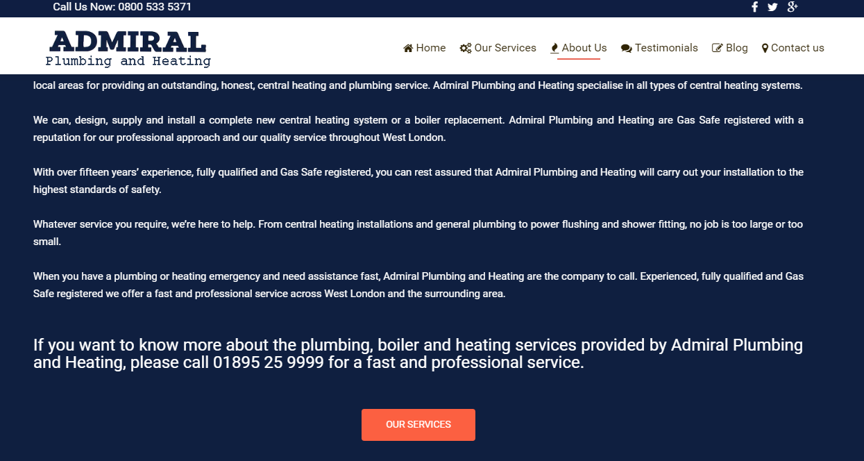 Fully Qualified And Insured Gas Safe Registered Engineers Admiral