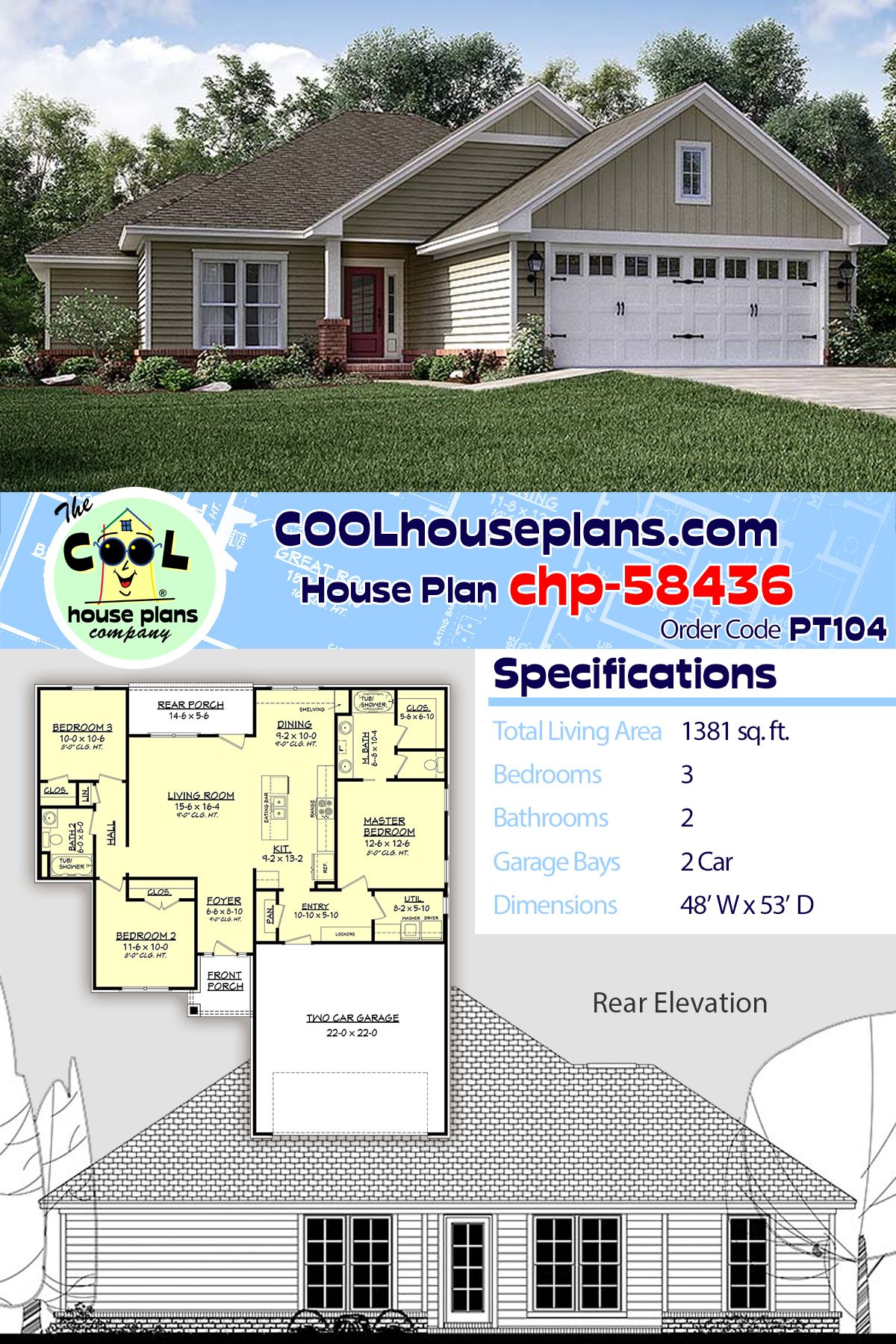 Traditional Home Design Chp 58436 With Open Floor Plan And Split Bedroom Layout At Cool House Plans House Plans Best House Plans House Design